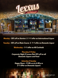 Weekly Offer @ Lexxus Resto Bar